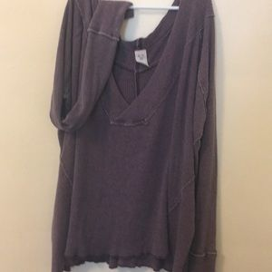 EUC Free People Rustic Purple Long Sleeve Top